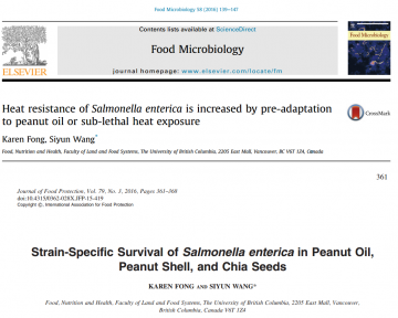 (April 2016) Check out Karen's Recently Published Work on Salmonella & Low-water Activity Foods